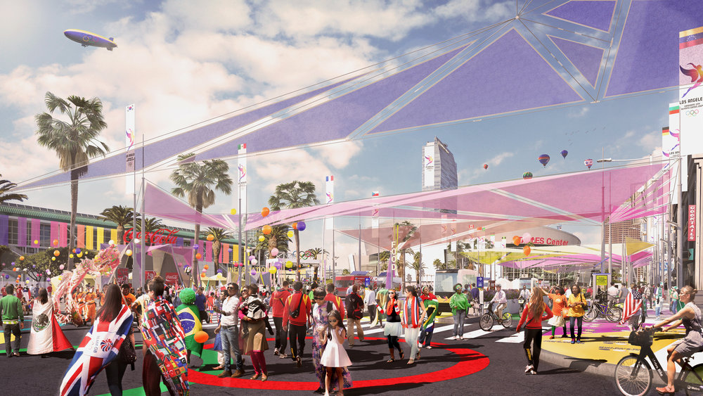 Los Angeles 2028 Olympic Bid | Figueroa Street Corridor Downtown Los Angeles. Designed while at AECOM.