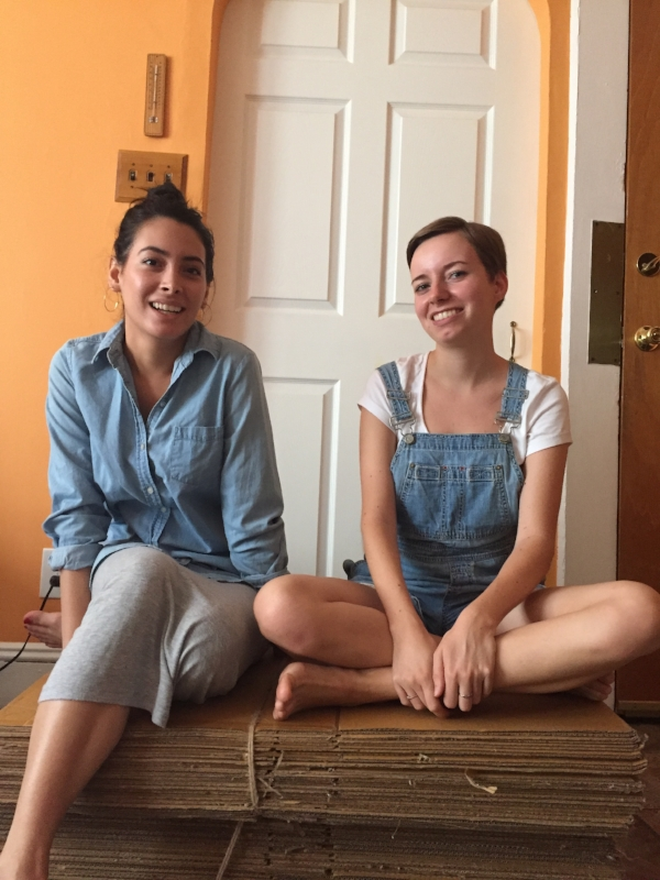 Julia and Abril sitting on the soon to be up-cycled set of ZWD
