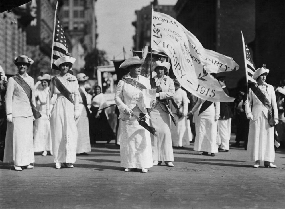 The Manhattan Delegation on a Woman Suffrage Party parade through New York. (Credit: Paul Thompson/Topical Press Agency/Getty Images)
