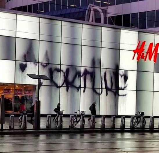 H&M store vandalized overnight in Toronto tweeted from @this_is_farah