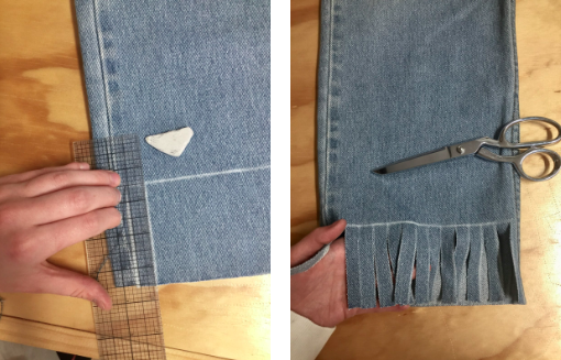 "Step 3 - Cut your first line on the front of the jean next to the inseam and pull out a few indigo threads so you can see exactly where the grain is. Continue to cut 1/2"" wide strips all the way across, making sure your cuts are parallel with the indigo threads."