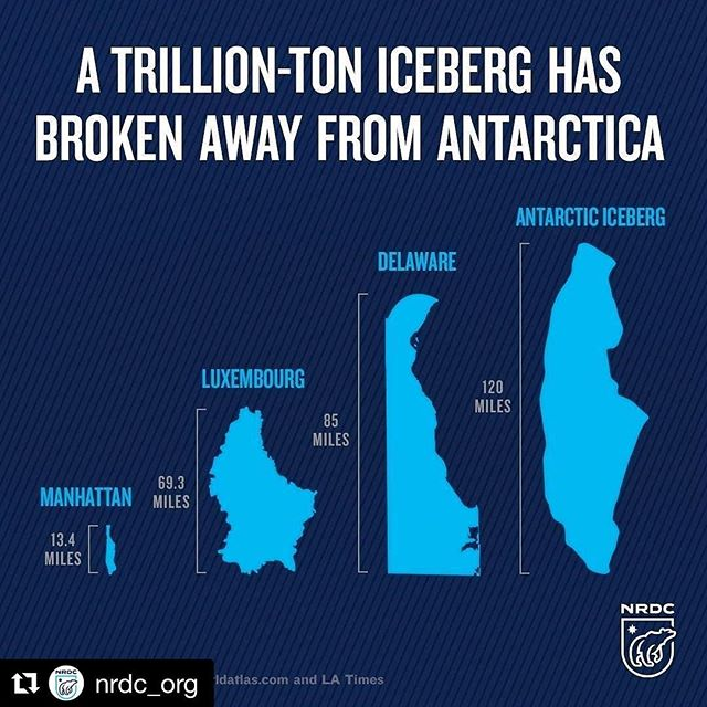 #repost @nrdc_org ・・・ Yesterday, the Larsen C iceberg officially broke away from Antarctica. It. Is. Enormous. The massive iceberg holds twice as much water used in the United States every year, about twice that of Lake Erie. It weighs an estimated 1.1 trillion tons and measures 2,200 square miles—and now it's floating freely in the ocean.  Read more -- go to nrdc.org ____ #environment #news #nrdc #planet #LarsenC #iceberg #Antartica #scientists #research #icebergs
