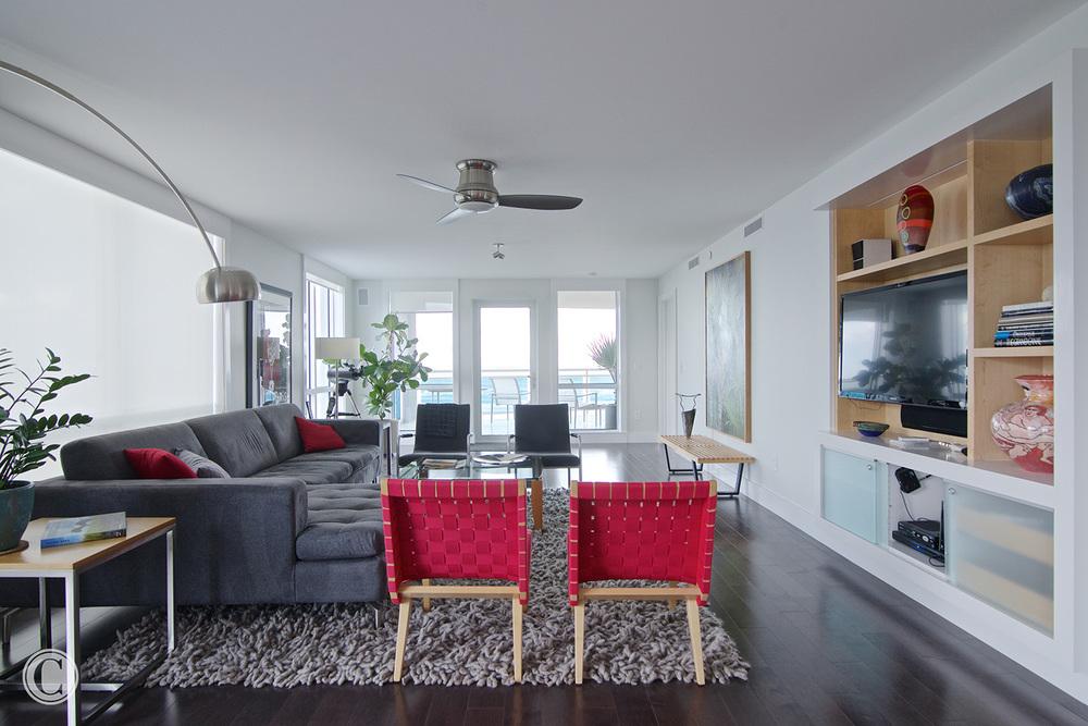 Jax Bch. Renovation, Acquilis Condominium, Living Room with View to Ocean | Cornelius Construction Company