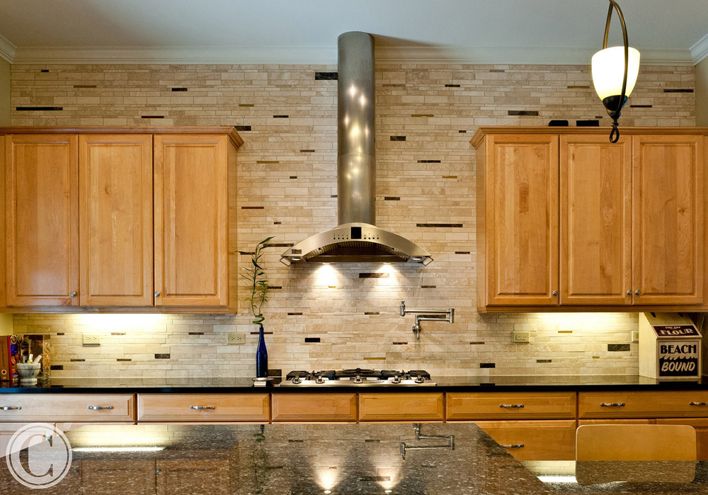 Kitchen Upgrades - designer tile backsplash, Pot-filling faucet, Granite Counters, ©Mark Sain Wilson Photography