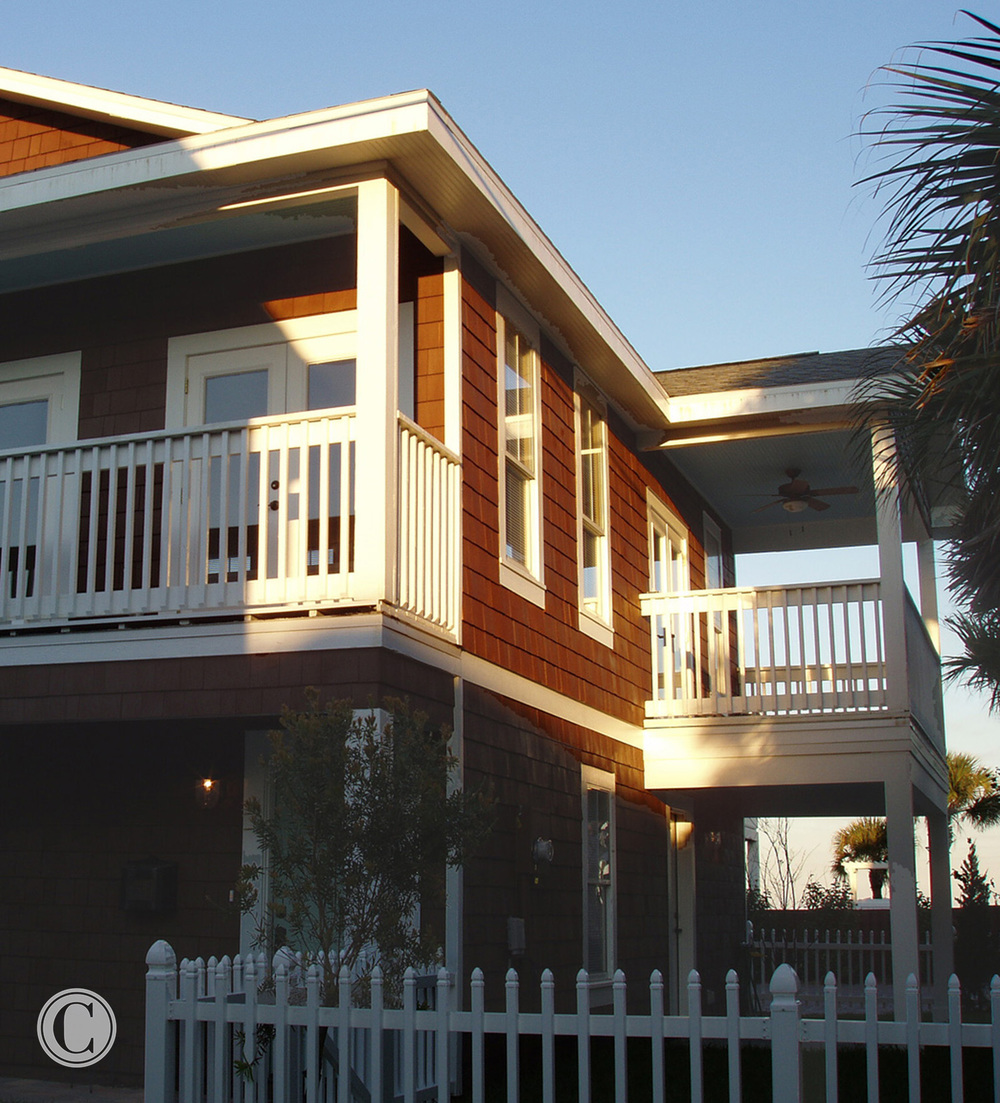 Corner View of New Construction Guest House, Full Gut-Remodel, Classic Oceanfront Beach House, Neptune Beach, FL ©Pablo Rivera Photography