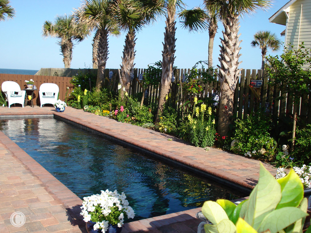 Shallow Lap Pool Outside Front Door, Full Gut-Remodel, Classic Oceanfront Beach House, Neptune Beach, FL ©Pablo Rivera Photography