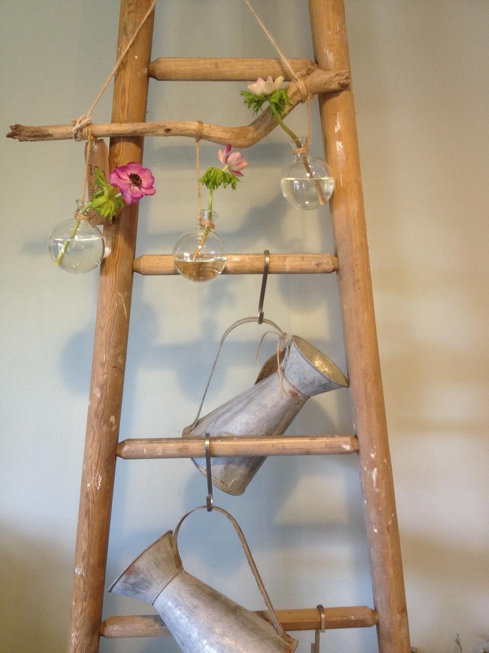 Driftwood Sculpture & French Zinc Jugs