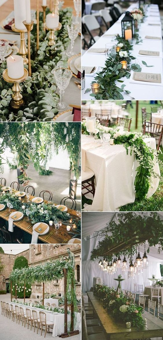 Greenery - – Lots of greenery adds a natural element and makes things feel very organic. Perfect for spring and summer weddings! *Photo extracted from Pinterest for reference.