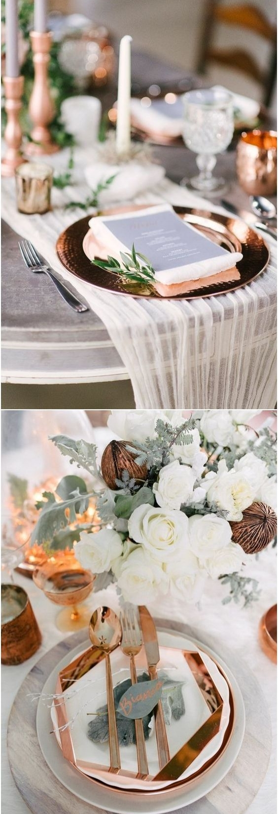 Metallic Accents - - Using various metallic vases, chargers, or votive candles can be a great metallic addition to your tablescape. Mercury glass has been around and I don't think it's going anywhere soon; however Copper is sure making a big statement. *Photo extracted from Pinterest for reference.