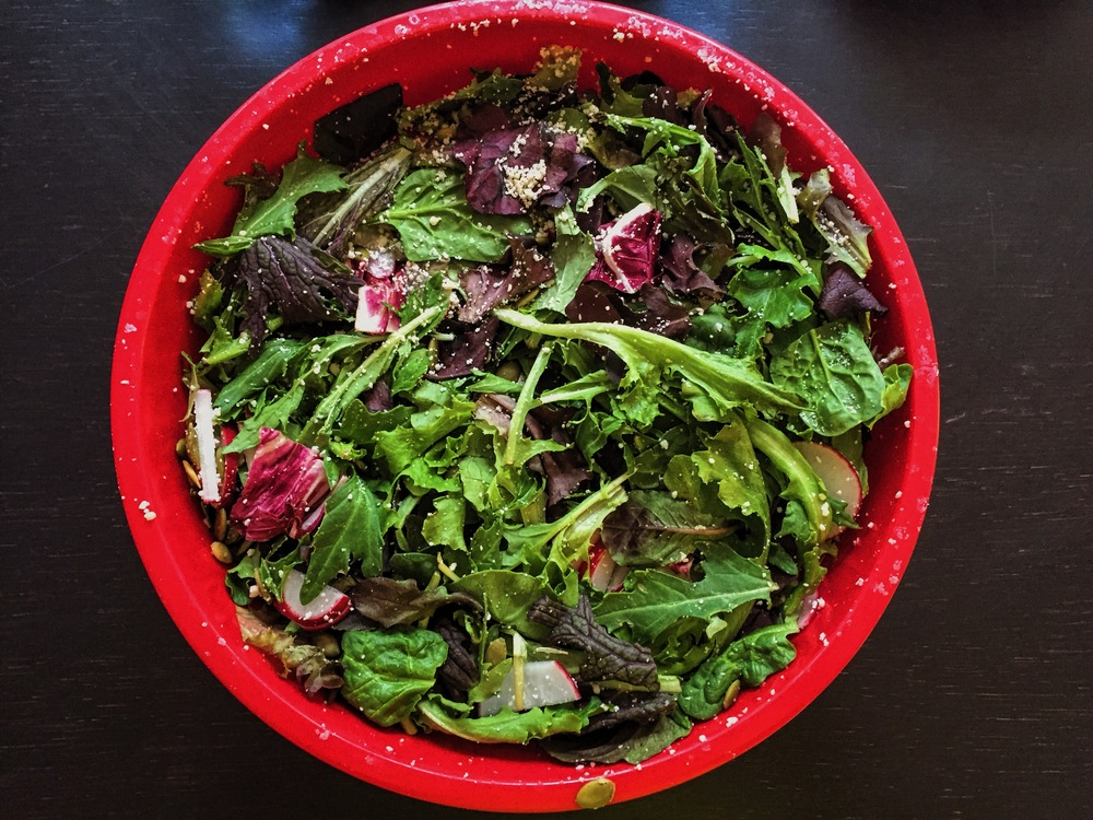 Spring Salad with Radishes, Pumpkin Seeds, and                     Grated Parmesan