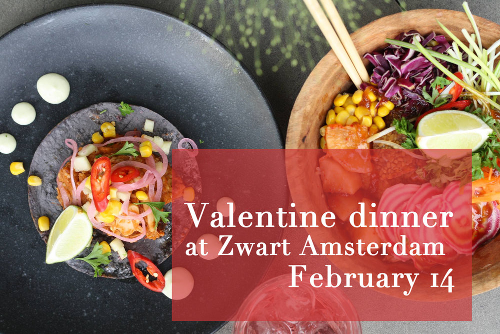 Zwart amsterdam Valentijn diner Go with the glow Meatless district