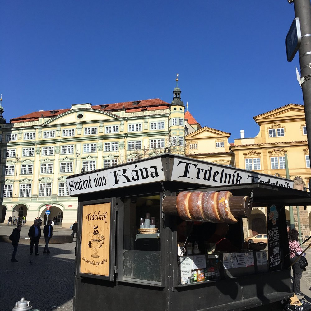 The famous trdelnik. Cylinders of warm dough coated in cinnamon sugar and filled with delicious toppings.
