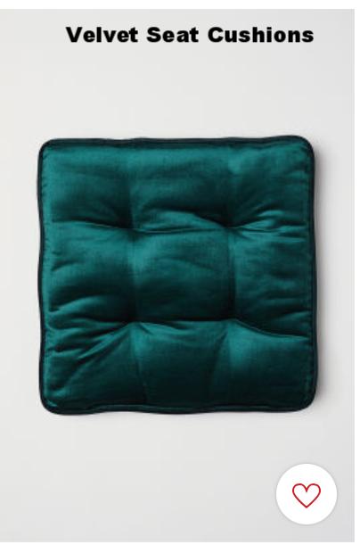 Velvet seat cushions