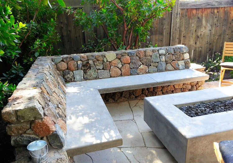 custom benches custom fire table stone benches reyes landscape construction