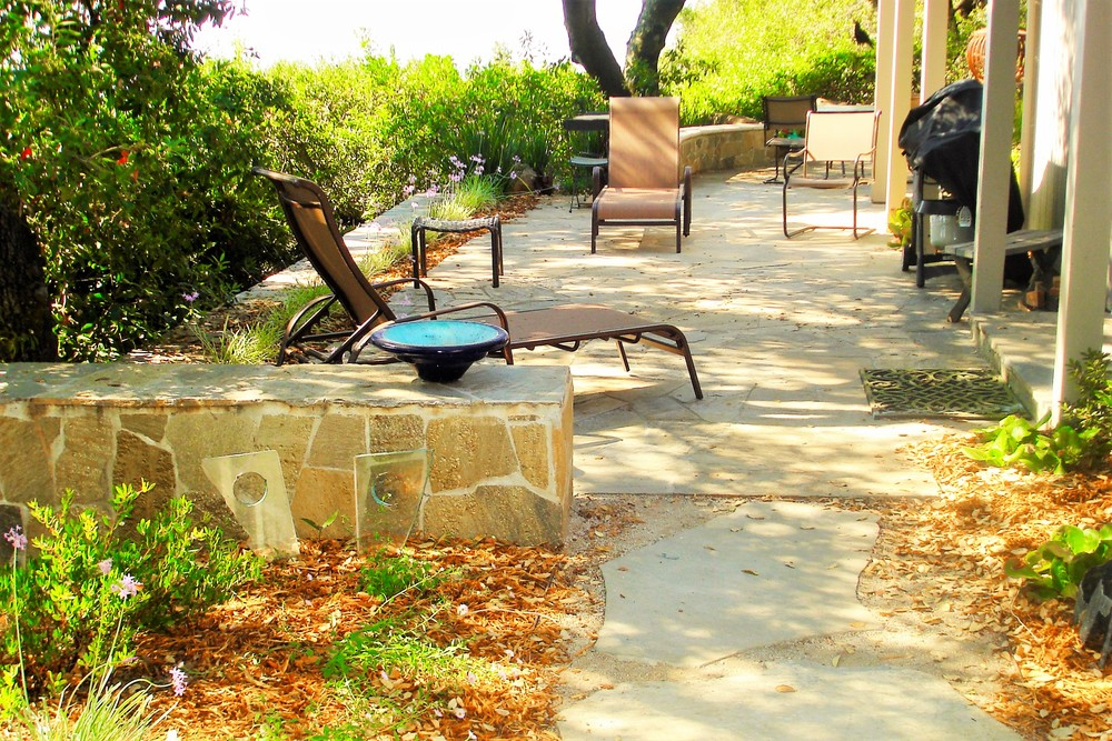 Stone wall and Flagstone patio