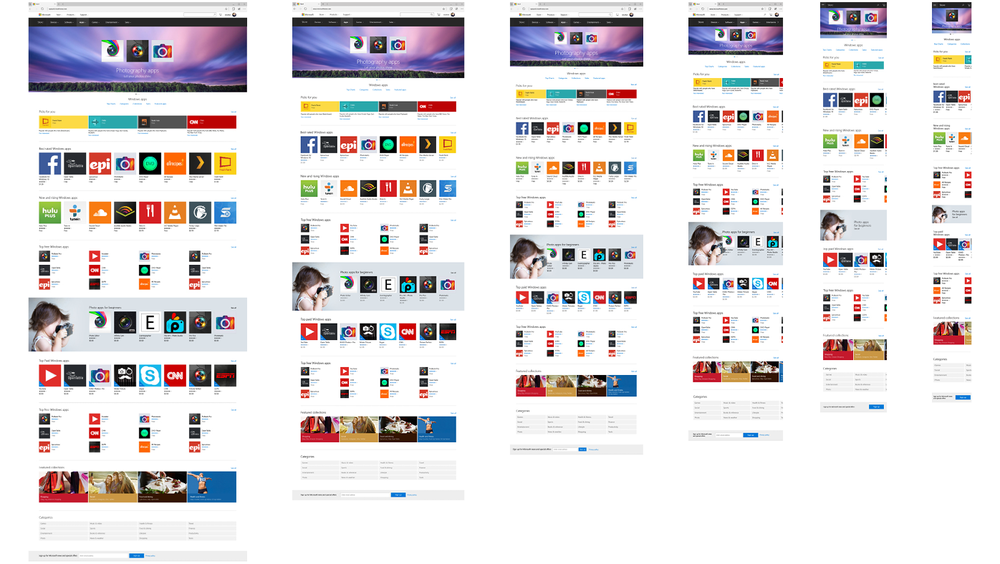 Category page across Viewport 6-1: screen sizes +2048 to 320px