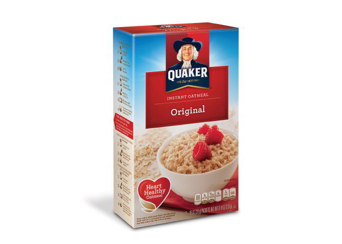 """The """"morning light"""" radiates from behind the iconic personality of Quaker. With over 50 flavors and varieties of oatmeal to represent, it was important to color-code and have different styles of the placard. Representing the flavors through tasteful food photography was also key."""