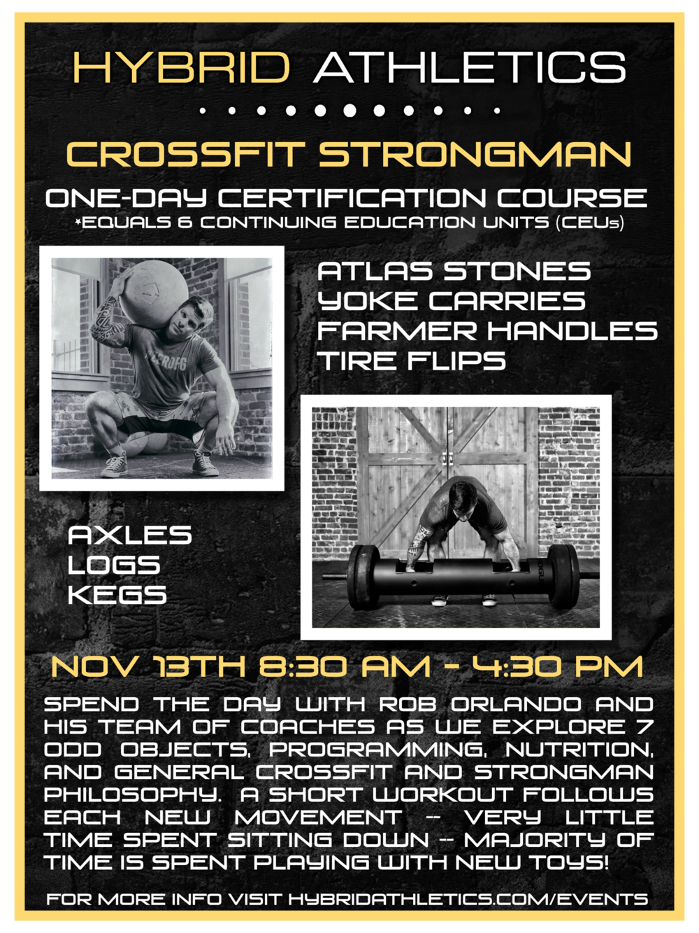 Events hybrid athletics crossfit strongman certification seminar with rob orlando xflitez Images