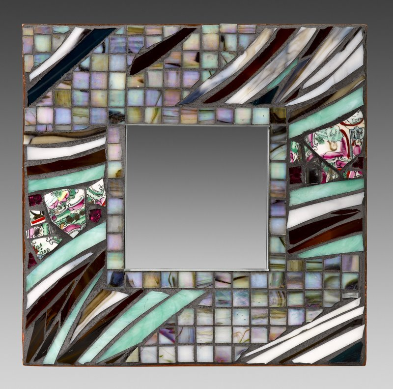 "Aqua in Dream Time, Glass and Ceramic Mosaic ,  12"" x 12"""