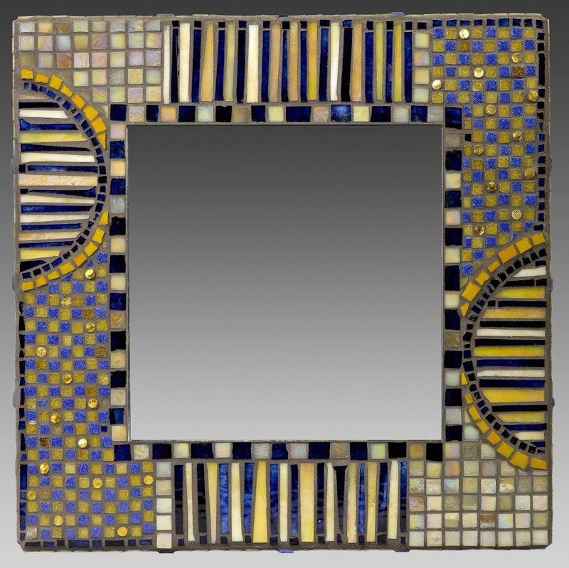 "Contemporary Blue, Glass Mosaic,  16"" x 16"""