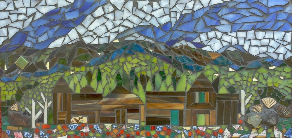 """Breckenridge,"" Mixed-media Mosaic, 18"" x 10"""