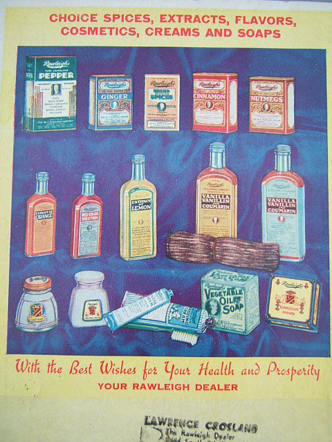 A scan of the back page of Rawleigh's 1935 Good Health Guide, picturing a variety of medicine and extract bottles similar to the one found in our backyard.