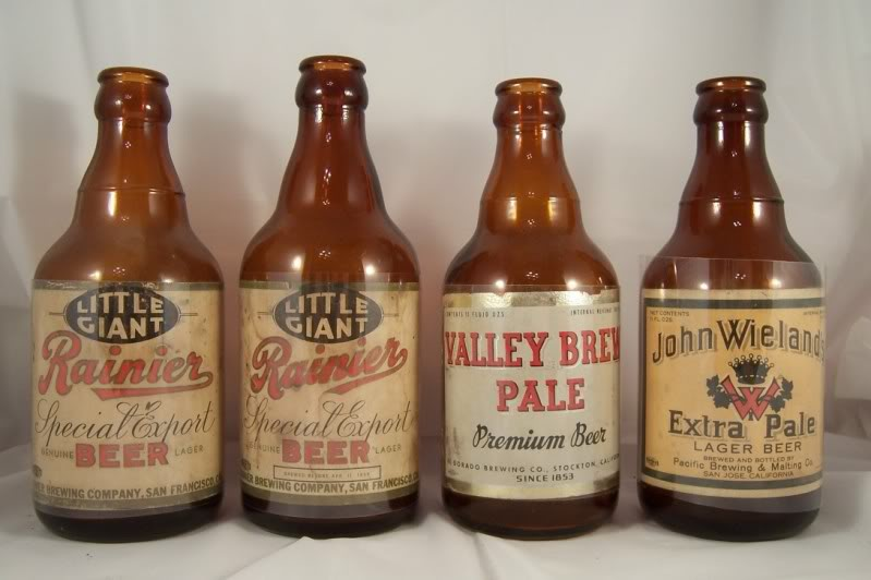 Steinie style bottles from the 30's, including Rainier Special Export Beer. Steinie bottles were designed to mimic familiar import beer bottle shapes.