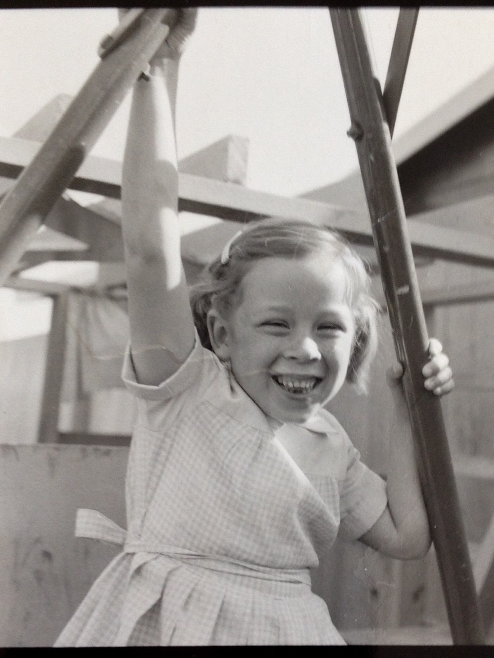 Meredith and her playhouse, 1956.