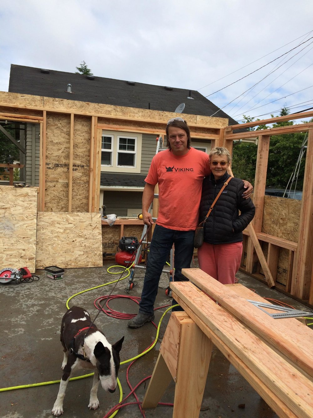 Scout, Elyse, and Joe of Viking Construction last summer.