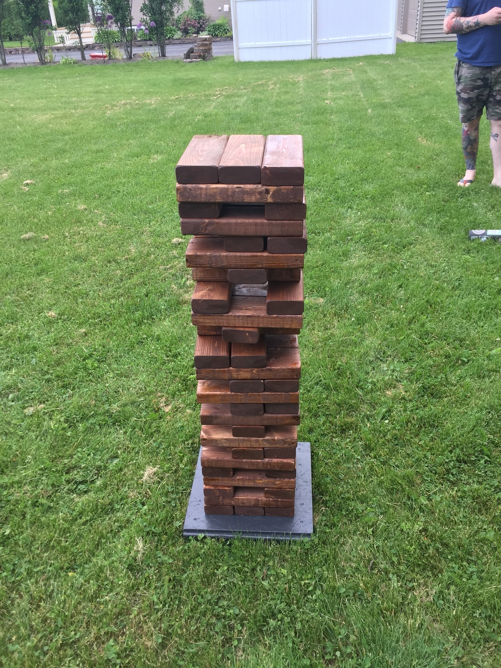 Featured Rental: Royal Walnut Stained Lawn Stacking Blocks Game - $60 Fri-Sun