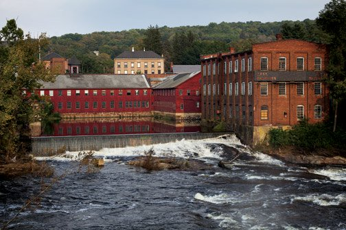 A mill complex on the Farmington River in Collinsville, Connecticut.  Source: Shutterstock.com