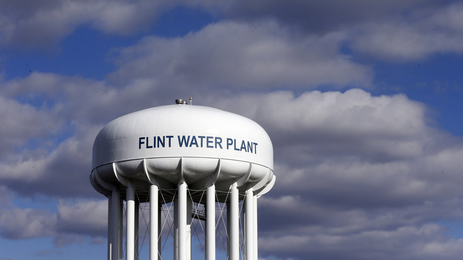 The Flint Water Plant water tower in Flint, Mich.  Carlos Osorio/AP