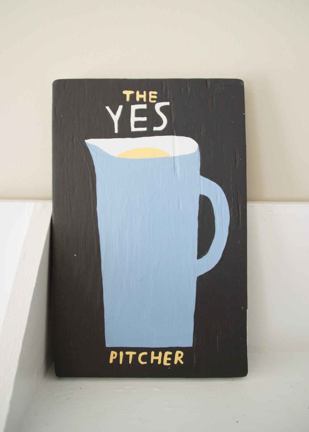 A Book Called A Pitcher Of Yes , 2016                      acrylic, wood | 11 x 17 in.