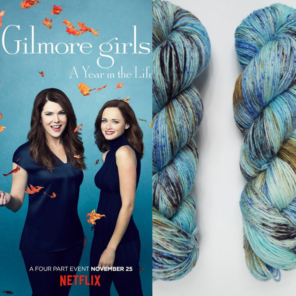 And yes, one colour-way had to be inspired by Gilmore Girls because this is my the most favourite TV series (watched it about 5 times and will do more) and new series starts already this month! It will be binge watching Saturday for me with knitting in my hands.