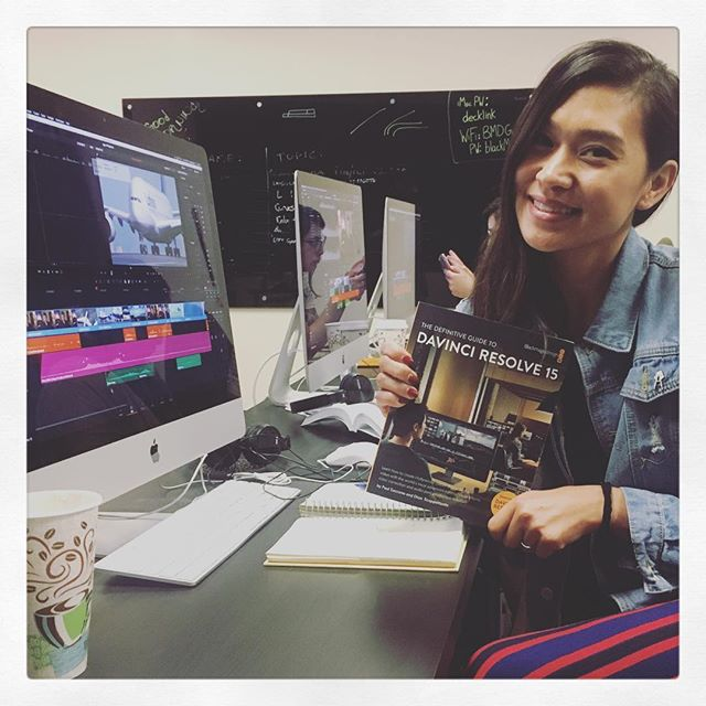 Day 2 in my Davinci Resolve class at @blackmagicnewsofficial Today we are going over Fairlight and Fusion. Thanks @womeninmediainc 💕