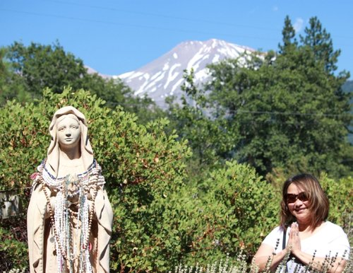 The Mother Mary and Kwan Yin Garden. Mt Shasta, CA, USA