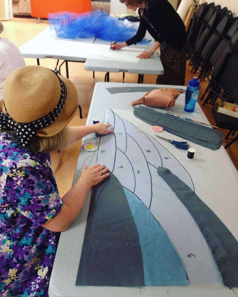 Susan builds another heron wing from a pattern created by our costume designer Arnold Smith