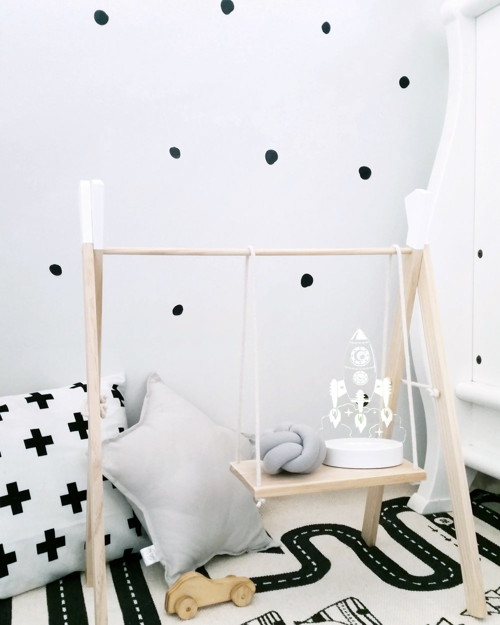 Kids night light monochrome scandi nursery styling