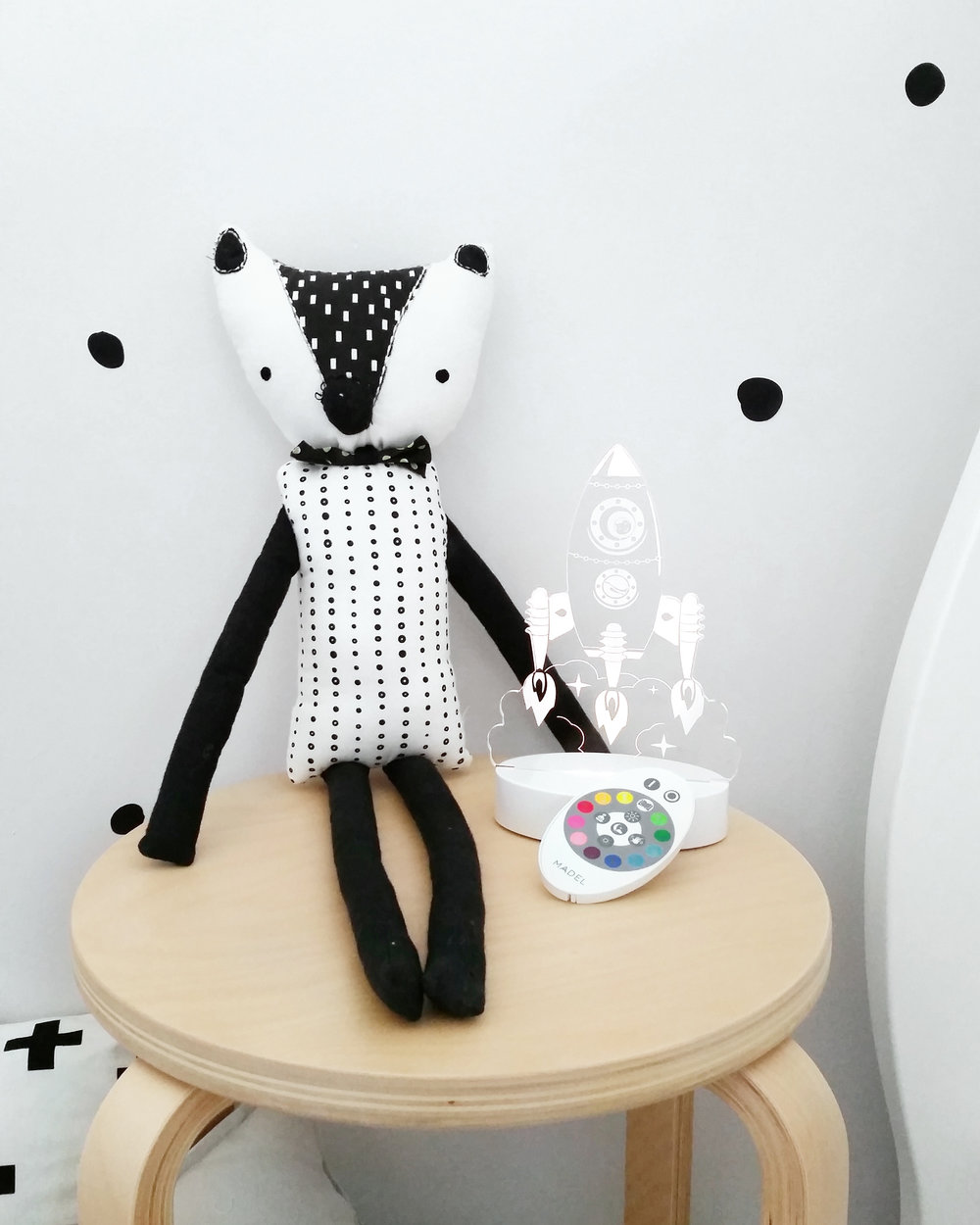 Rocket kids night light in monochrome nursery