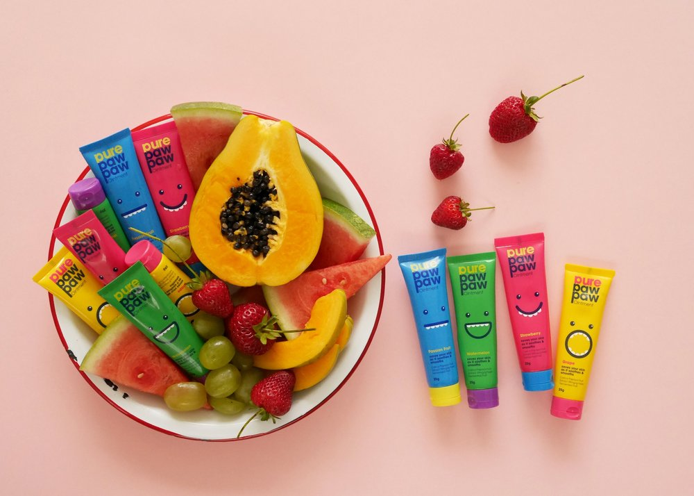 Colourful paw paw product fun fruity flatlay