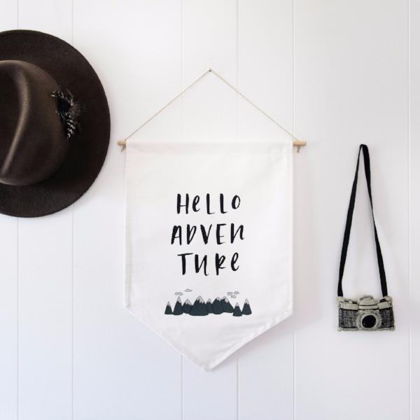 In the Dayligh - 'Hello Adventure' Wall Flag