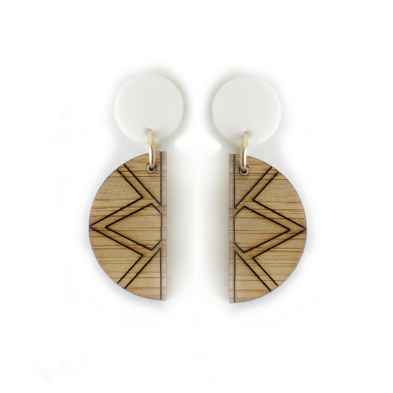 Empress stud earrings  - these earrings are part of the latest 'Empire' collection. They incorporate bamboo and repurposed white acrylic that was destined for landfill.