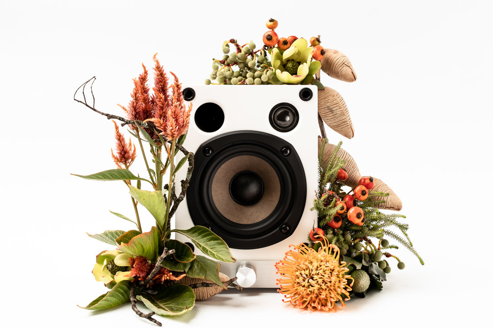 Flowers and speaker