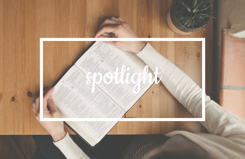 """Image of woman studying Bible, leading image for """"Spotlight"""" series"""