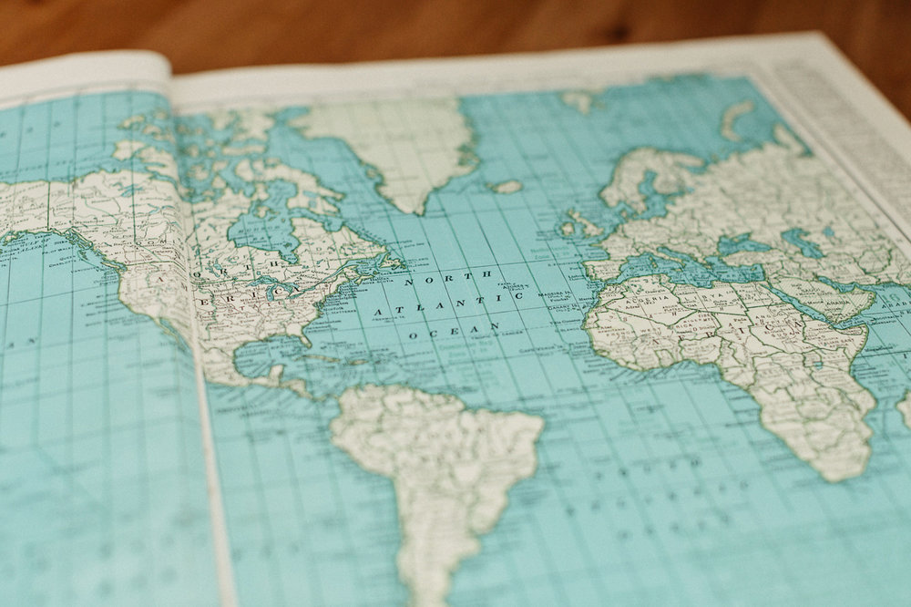 Printed atlas map of the world.