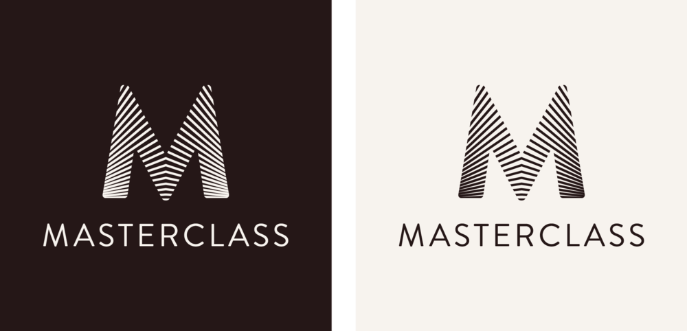 The MasterClass logotype on light & dark backgrounds