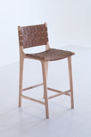 Woven Leather Strap BarCounter Stool With Back