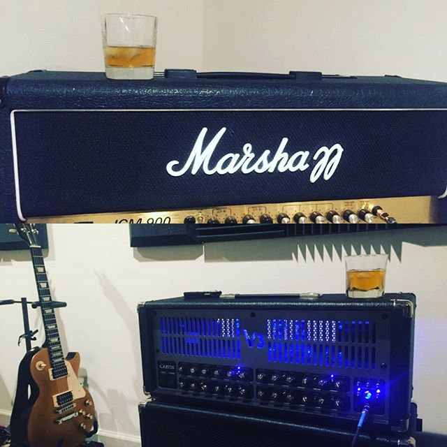 Whiskey 🥃 & Tones 🎶 with Chris Mahon  It's amazing when two guitarists can not only be in the same room together, breathing the same air... But also critique each other's playing and sound without killing one another. LOL Chris, you're a monster player and I'm lucky to have you as a band mate. @marshallamps_uk @gibsonguitar  #rockband #guitarists #whiskey #makingmusic #marshallamps #gibson #lespaul