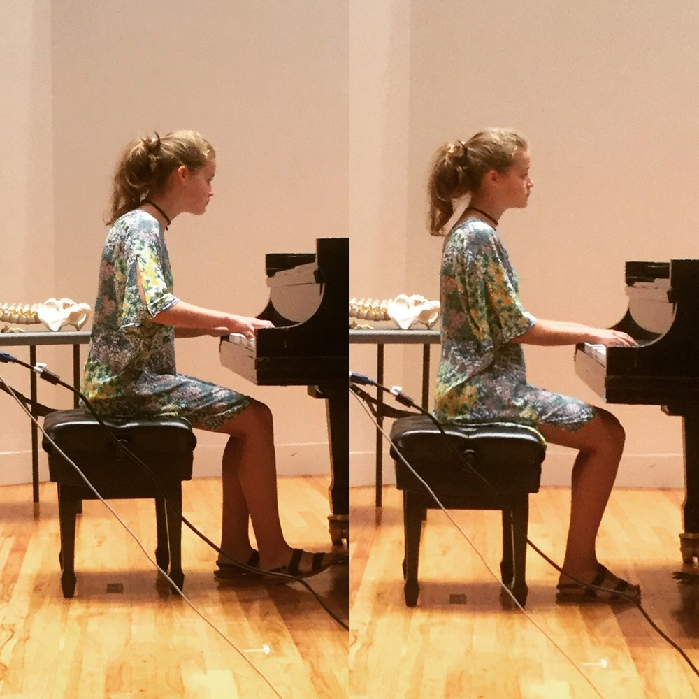 A young pianist before and after a masterclass at the Manhattan School of Music