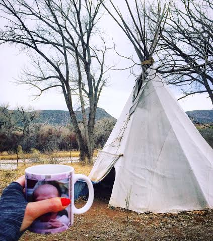 morning tipi. morning sad kid on sad mug.